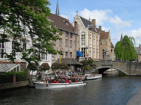 The Dijver Canal In Bruges Belgium Brugge